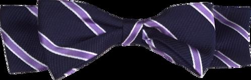 School Boys Bow Tie black purple stripe