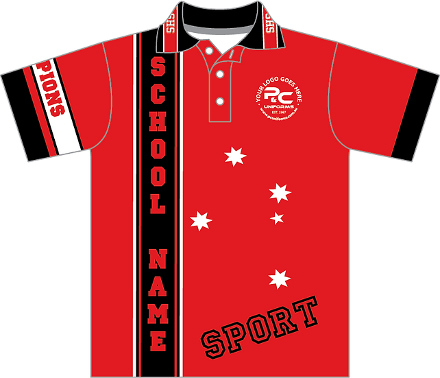 Sublimated Sports School Polo Front View red