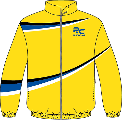 Sublimated Sport Jacket Front View yellow with stripe