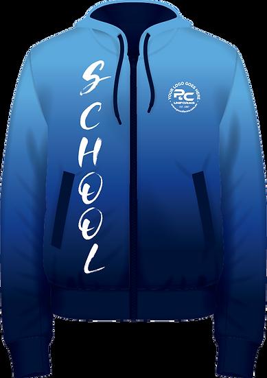 School Winter Fleece Hoodie Zip Jacket Front View Sublimated