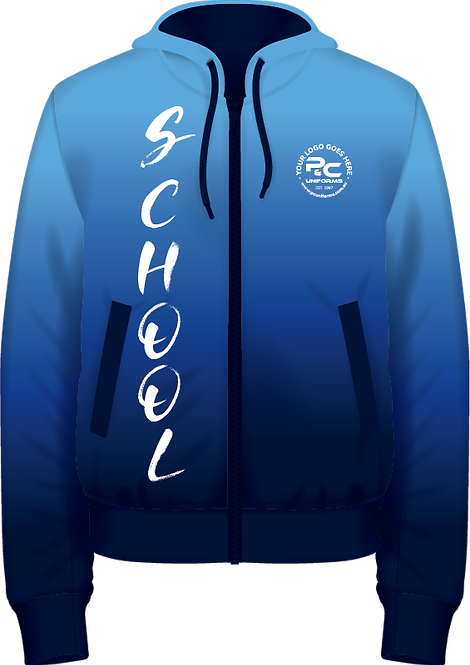School Winter Fleece Hoodie Zip Jacket Front View Sublimated