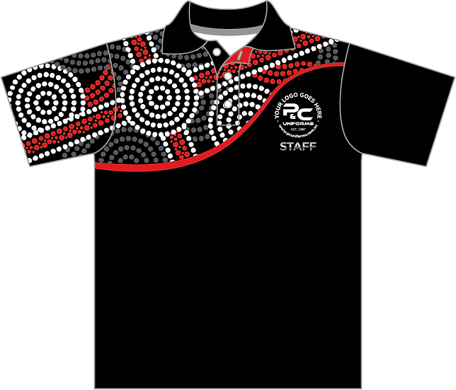 Sublimated Staff Polo Indigenous Aboriginal Front View