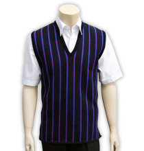 School V-Neck Knit Vest front view black purple stripe