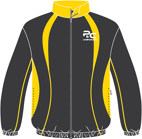 Sublimated Sport Jacket Front View grey yellow