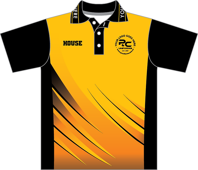 Sublimated Sports House Polo Front View Yellow