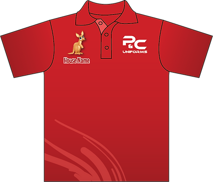 Sublimated Sport House Team Polo Front View Red