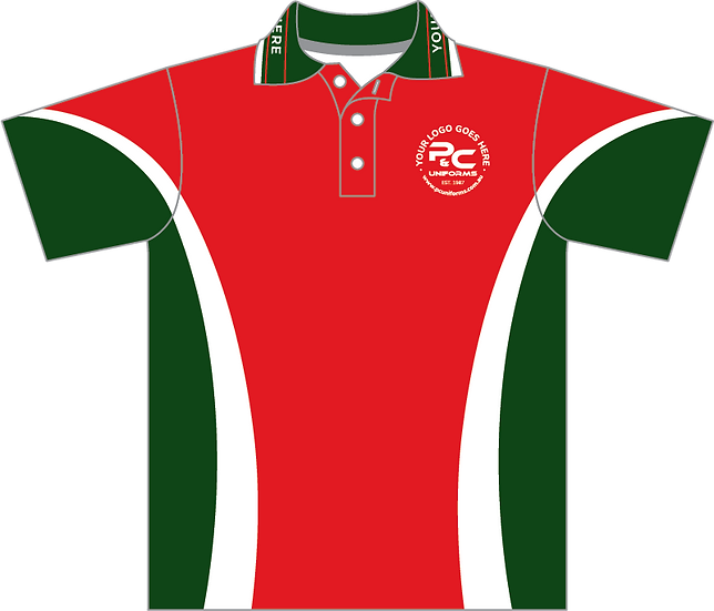 Sublimated School Polo Front View red bottle green
