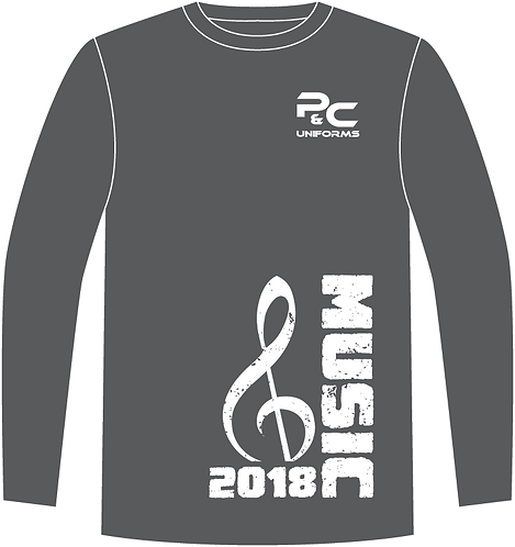 Sublimated Long Sleeve School Music T-Shirt Front View