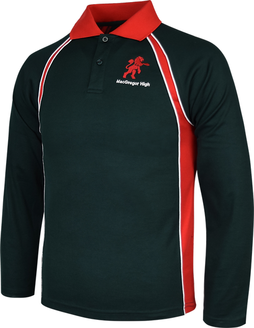 School Long Sleeve Panel Polo Front View