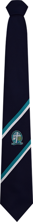 School Boys navy tie teal and white stripe