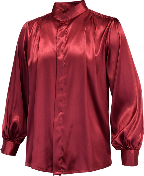 Maroon Satin Pleated Music Long Sleeve Shirt Front View