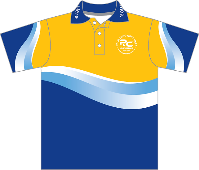 Sublimated Sports House Polo Front View yellow gold
