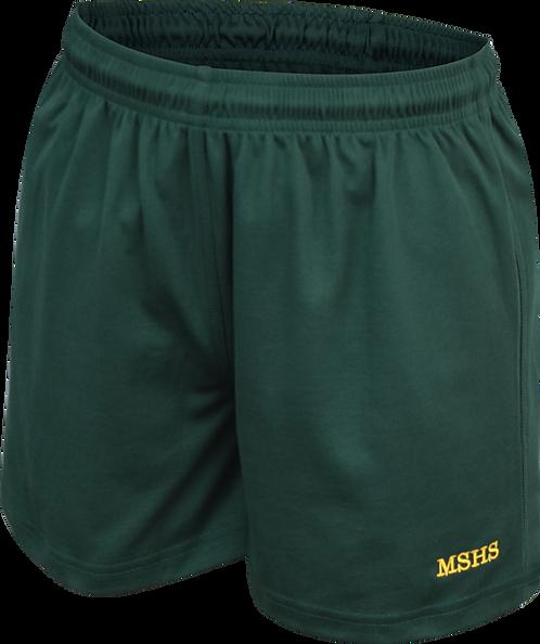 Elastic Waist Unisex School Sports Shorts Front View