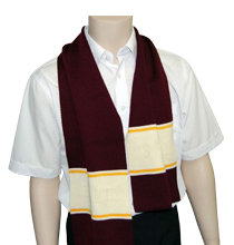 School Knitted Scarf maroon front view