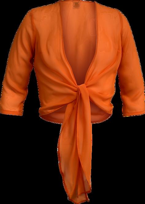 Tie Front Sheer Top Orange Front View