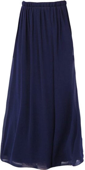 Double Layer Maxi Skirt Front View Navy Blue