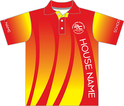 Sublimated Sports House Polo Front View Red Yellow