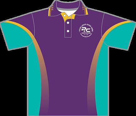 Sublimated Sports House Polo Front View Purple Aqua