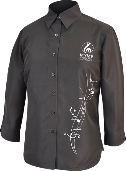 3/4 Sleeve Music Blouse Sublimated Front View