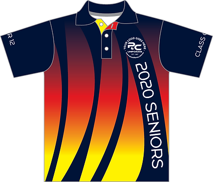 Sublimated Senior School Graduation Polo Shirt Front View