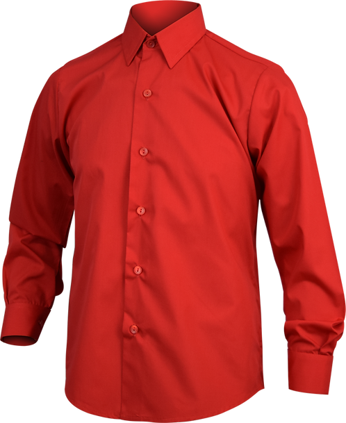 Red long sleeve shirt front view
