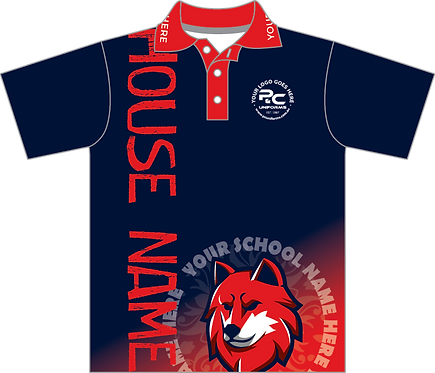 Sublimated Sports House Polo Front View Red