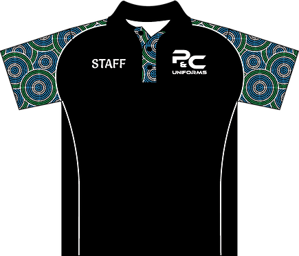 Sublimated Indigenous Aboriginal Staff Polo Front View