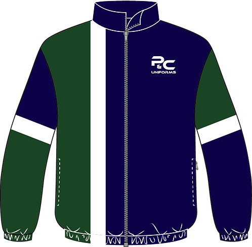 Sublimated Sport Jacket Front View blue green