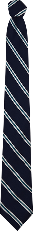 School Boys navy tie teal and white double stripe