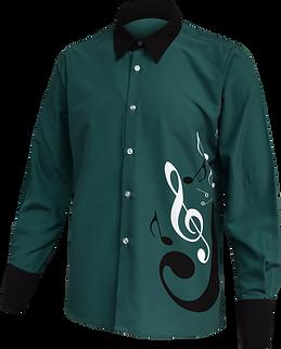 Music button up shirt long leeve green front view