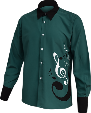 Music button up shirt long leeve green front view