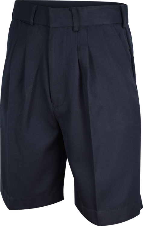 College Double Pleat School Shorts Front View