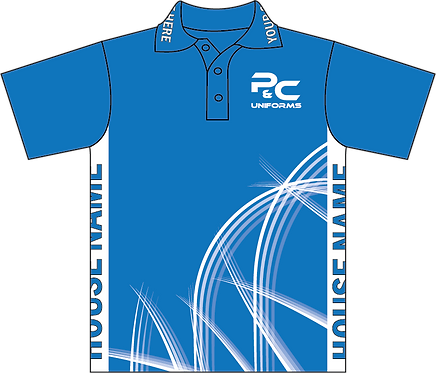 Sublimated Teamwear Sport Polo Front View Blue