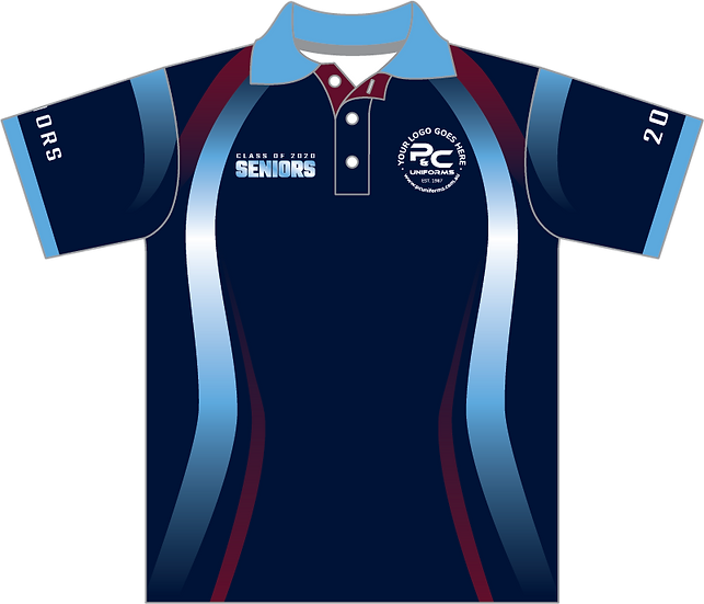 Sublimated Senior School Leavers Polo Front View
