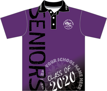 Sublimated Senior School Leavers Graduation Polo Front View