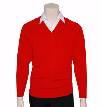 School V-Neck Knit Pullover Jumper Front View red