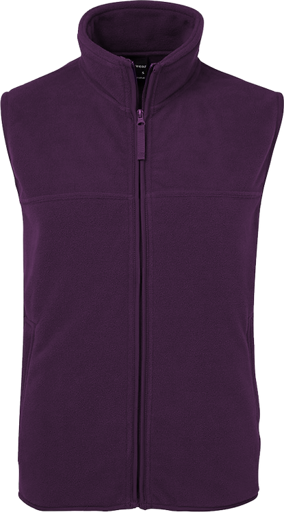 School Full Zip Fleece Vest Front View