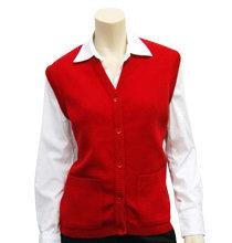School V-Neck Button Vest red front view