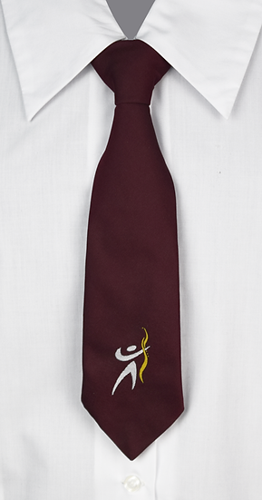 School Girls Clip-On Tie front view maroon