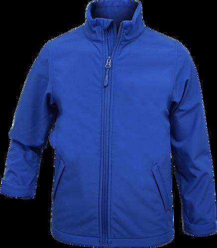 Water resistant fleece zip jacket blue front view