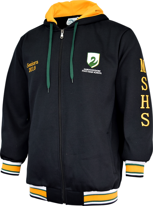 School Fleece Hoodie Full Zip Front View