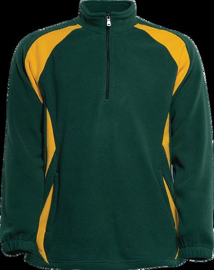Fleece Half Zip Pullover green yellow front view