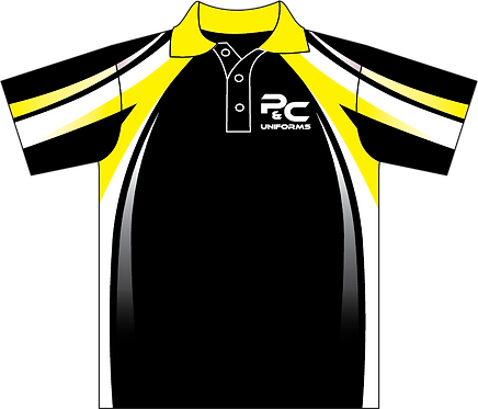 Sublimated Teamwear Sport Polo Front View Black