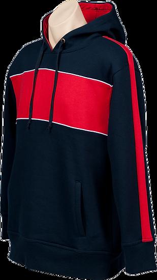 fleece hoodie navy red contrast front view
