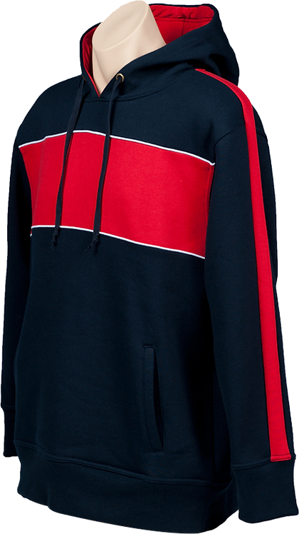 fleece hoodie navy red contrast front view