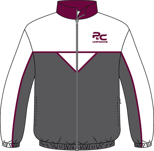Sublimated Sport Jacket Front View grey white maroon