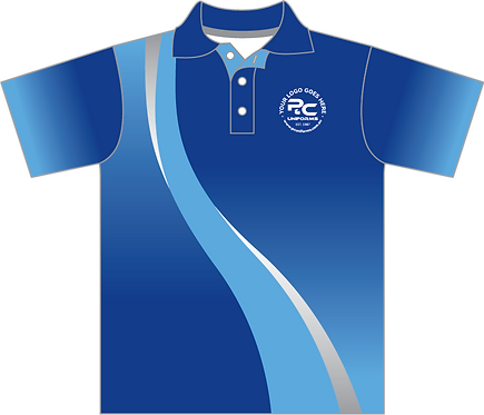 Sublimated School Polo Front View blue