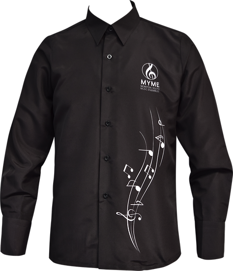 Sublimated School Music Shirt Black Front View