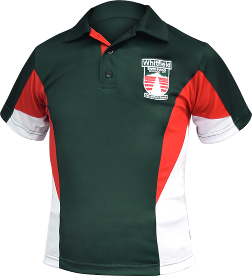 School Panel Polo Front View Bottle red white