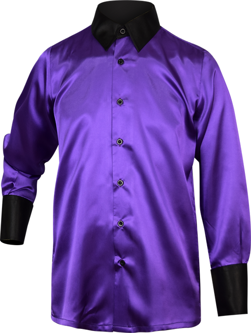 Purple Satin School Music Shirt Front View